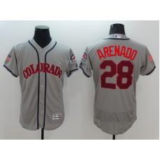 2016 MLB Colorado Rockies 28 Arenado Grey Elite Fashion Jerseys