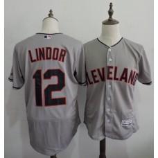 2016 MLB FLEXBASE Cleveland Indians 12 Lindor Grey Elite Jerseys