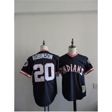 2016 MLB FLEXBASE Cleveland Indians 20 Robinson Blue Throwback Jerseys