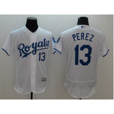 2016 MLB FLEXBASE Kansas City Royals 13 Perez White Jersey