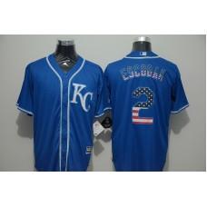 2016 MLB FLEXBASE Kansas City Royals 2 Escobar blue jersey