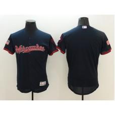2016 MLB FLEXBASE Milwaukee Brewers Blank Blue Fashion Jerseys