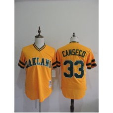 2016 MLB FLEXBASE Oakland Athletics 33 Canseco Yellow Throwback Jerseys