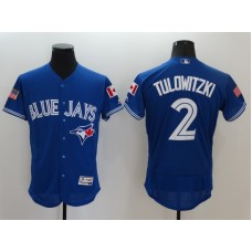 2016 MLB FLEXBASE Toronto Blue Jays 2 Tulowitzki Blue Fashion Jerseys