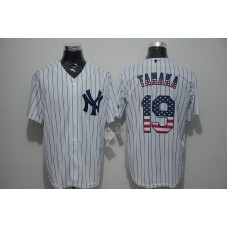 2016 MLB New York Yankees 19 Tanaka White USA Flag Fashion Jerseys