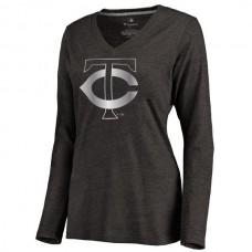 2016 Minnesota Twins Women's Platinum Collection Long Sleeve V-Neck Tri-Blend T-Shirt  Black