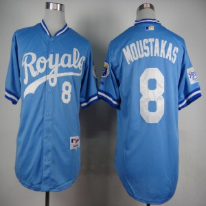 MLB Kansas City Royals 8 Mike Moustakas Light Blue 1985 Jerseys