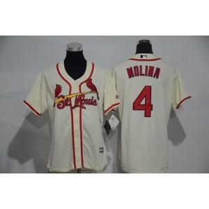 Womens 2017 MLB St. Louis Cardinals 4 Molina Gream Jerseys