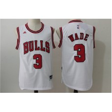 2016 NBA Chicago Bulls 3 Wade White Jerseys