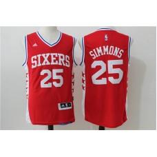 2016 NBA Philadelphia 76ers 25 Simmons Red Jerseys