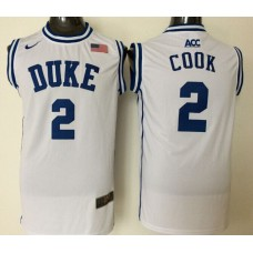 2016 NBA NCAA Duke Blue Devils 2 Cook White Jerseys