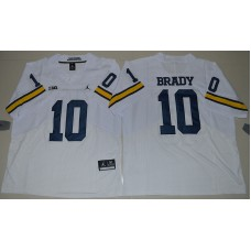 2016 NCAA Jordan Brand Michigan Wolverines 10 Tom Brady White College Football Elite Jersey