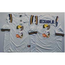 2016 NCAA LSU Tigers 3 Beckham jr White Limited Fashion Edition Jerseys