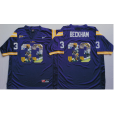 2016 NCAA LSU Tigers 33 Beckham Purple Fashion Edition Jerseys