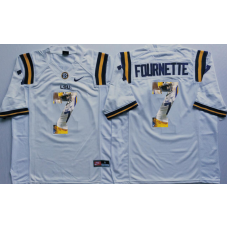 2016 NCAA LSU Tigers 7 Fournette White Fashion Edition Jerseys