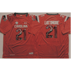 2016 NCAA South Carolina Gamecock 21 Lattimore Red Fashion Edition Jerseys