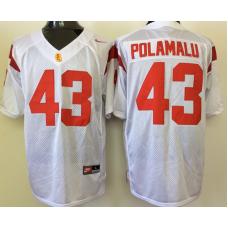 2016 NCAA USC Trojans 43 Polamalu White Jerseys