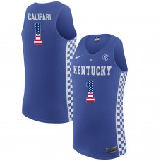 2016 US Flag Fashion  2017 Men Kentucky Wildcats John Calipari 1 College Basketball Elite Jersey  Royal Blue