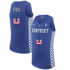 2016 US Flag Fashion  2017 Men Kentucky Wildcats De'Aaron Fox 0 College Basketball Elite Jersey  Royal Blue