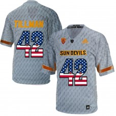 2016 US Flag Fashion Men Arizona State Sun Devils Pat Tillman 42 Desert Fuel  College Football Jersey  Grey