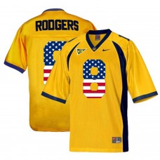 2016 US Flag Fashion Men California Golden Bears Aaron Rodgers 8 College Football Jersey  Gold