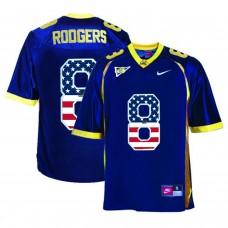 2016 US Flag Fashion Men California Golden Bears Aaron Rodgers 8 College Football Jersey  Navy Blue