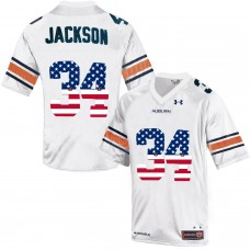 2016 US Flag Fashion Men Under Armour Bo Jackson 34 Auburn Tigers College Football Throwback Jersey  White