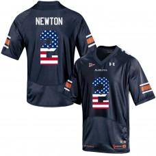 2016 US Flag Fashion Men Under Armour Cam Newton 2 Auburn Tigers College Football Jersey  Navy Blue