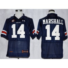 NCAA Auburn Tigers 14 Nick Marshall Navy Blue Football Jerseys