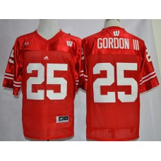 NCAA Wisconsin Badgers 25 Melvin Gordon III Red Big Ten College Football Jerseys.
