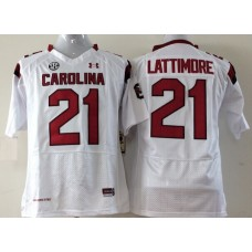 Youth 2016 NCAA South Carolina Gamecock 21 Lattimore White Jerseys