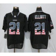 2016 Dallas cowboys 21 Elliott USA Flag Fashion Black New Nike Elite Jerseys