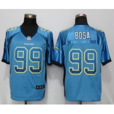 2016 NEW Nike Los Angeles Chargers 99 Bosa Drift Fashion Blue Elite Jerseys