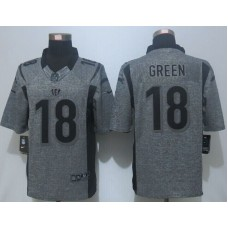2016 New Nike Cincinnati Bengals 18 Green Gray Men's Stitched Gridiron Gray Limited Jersey.