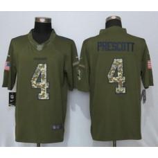 2016 New Nike Dallas Cowboys 4 Prescott Green Salute To Service Limited Jersey