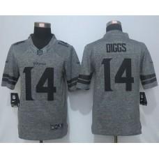 2016 New Nike Minnesota Vikings 14 Diggs Gray Men's Stitched Gridiron Gray Limited Jersey