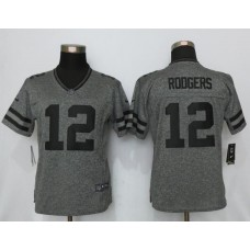 2016 Women New Nike Green Bay Packers 12 Rodgers Gray Stitched Gridiron Gray Limited Jersey