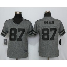 2016 Women New Nike Green Bay Packers 87 Nelson Gray Stitched Gridiron Gray Limited Jersey