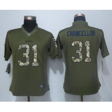 2016 Women New Nike Seattle Seahawks 31 Chancellor Green Salute To Service Limited Jersey