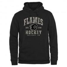 2016 NHL Mens Calgary Flames Black Camo Stack Pullover Hoodie