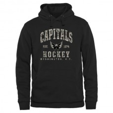 2016 NHL Mens Washington Capitals Black Camo Stack Pullover Hoodie