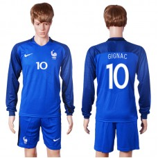 2016 European Cup France home long sleeve 10 Gignac Blue Soccer Jersey