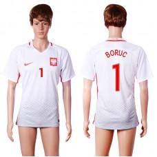 2016 European Cup Poland home 1 BORUC White AAA+ Soccer Jersey