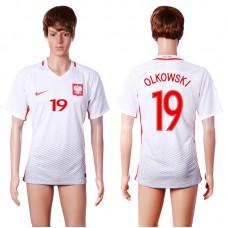 2016 European Cup Poland home 19 OLKOWSKI White AAA+ Soccer Jersey