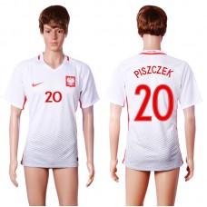 2016 European Cup Poland home 20 PISZCZEK White AAA+ Soccer Jersey