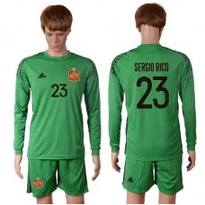 2016 European Cup Spain green goalkeeper long sleeves 23 SERGIO RICO Soccer Jersey