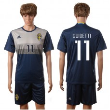 European Cup 2016 Sweden away 11 Guidetti blue soccer jerseys